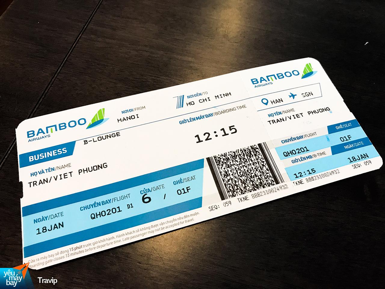 Chiếc vé máy bay bài bản và đẹp mắt của Bamboo Airways. Ảnh: Travip