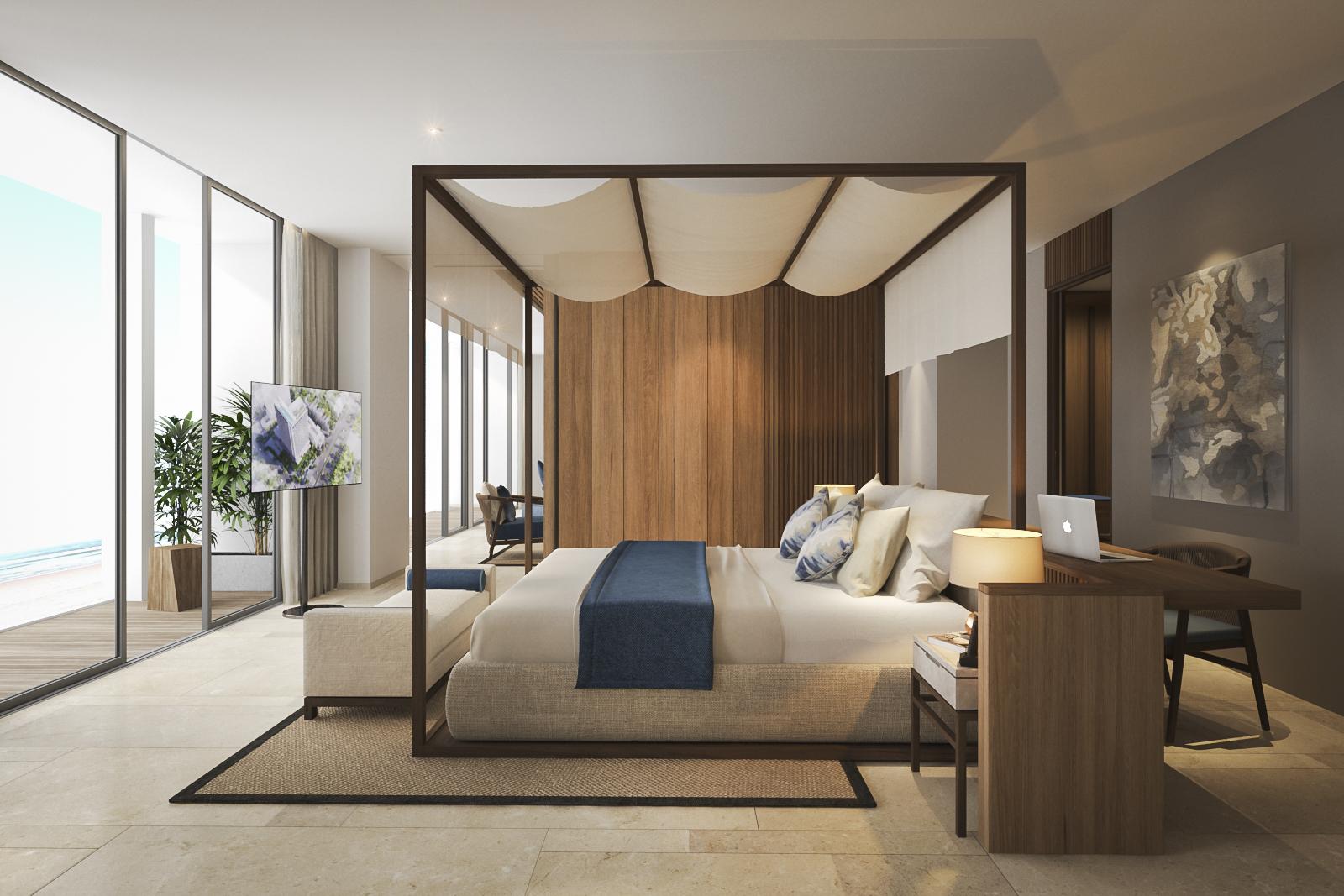 Phòng Vice Presidental Suite: loại phòng có một không hai tại khách sạn với diện tích 92m2 bao trọn vẹn cảnh biển và thành phố Quy Nhơn, ban công 15m2 rộng rãi, phòng khách lớn tiện nghi riêng biệt.- Ảnh: ANYA Premier Hotel