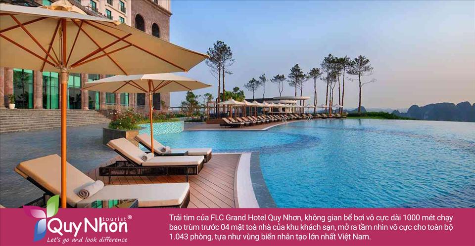 Trái tim củaFLC Grand Hotel Quy Nhơn, không gian bể bơi vô cực dài 1000 mét chạy bao trùm trước 04 mặt toà nhà của khu khách sạn, mở ra tầm nhìn vô cực cho toàn bộ 1.043 phòng, tựa như vùng biển nhân tạo lớn nhất Việt Nam.