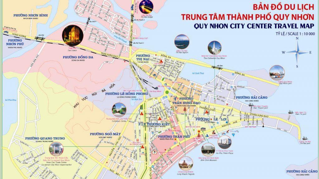 Bản đồ du lịch Quy Nhơn - Trung tâm thành phố Quy Nhơn.