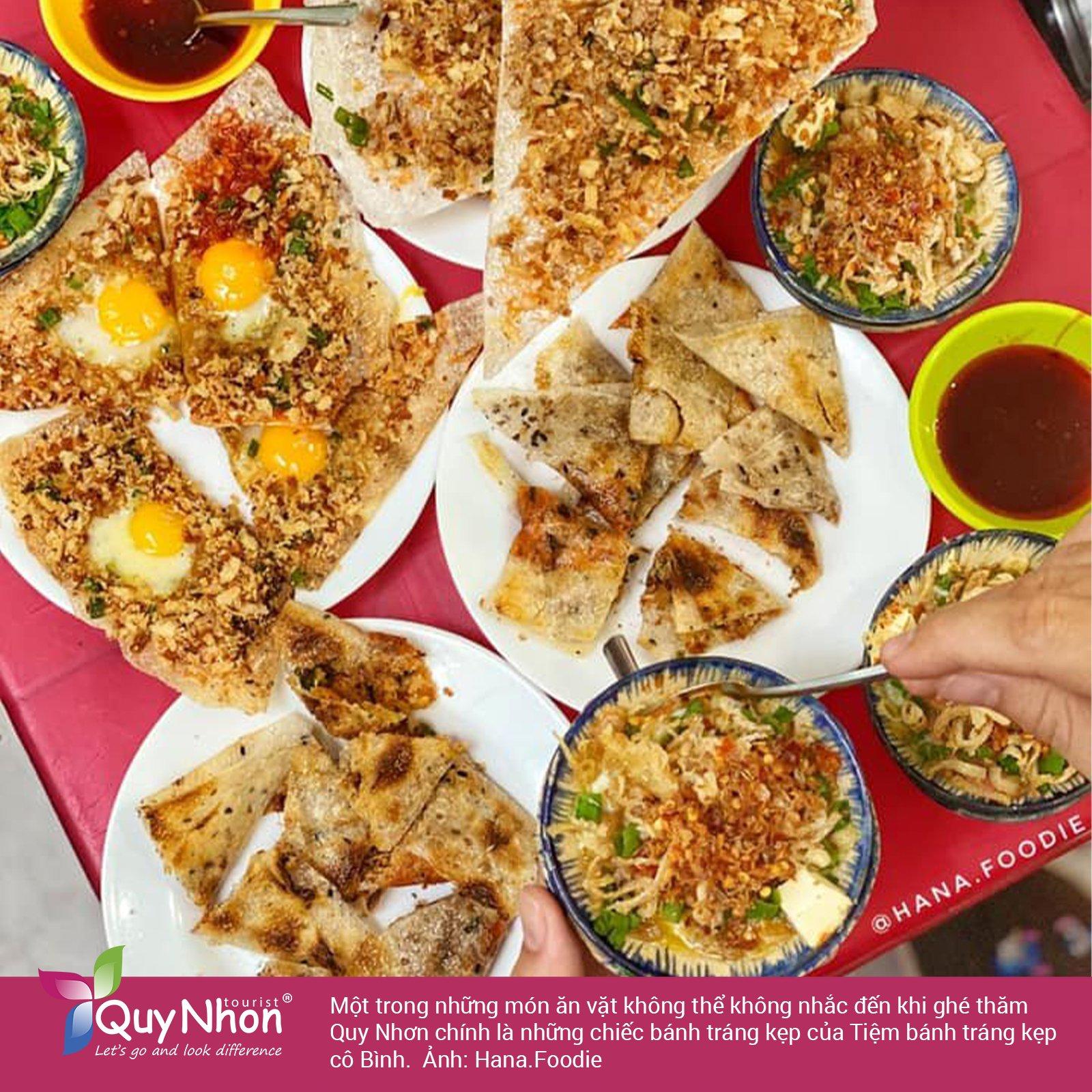 Ăn vặt Quy Nhơn - Tiệm bánh tráng kẹp cô Bình